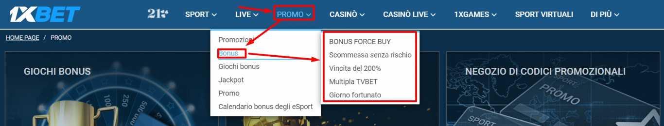 1xBet bonus: tutte le varianti disponibili in Italia